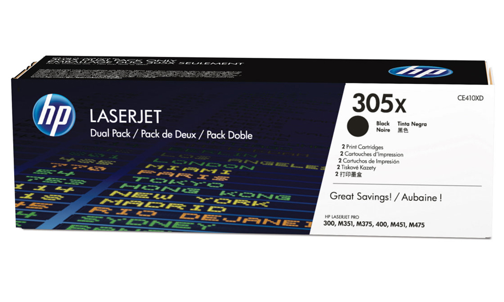 HP 305X 2-pack High Yield Black Original LaserJet Toner Cartridge CE410XD