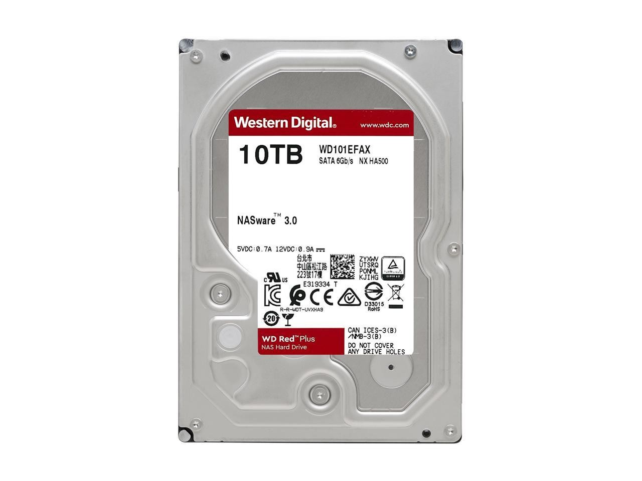 "Western Digital Hard Drive 3.5"" SATA 3.0 10TB 5400 256MB Red Plus NAS WD101EFAX"